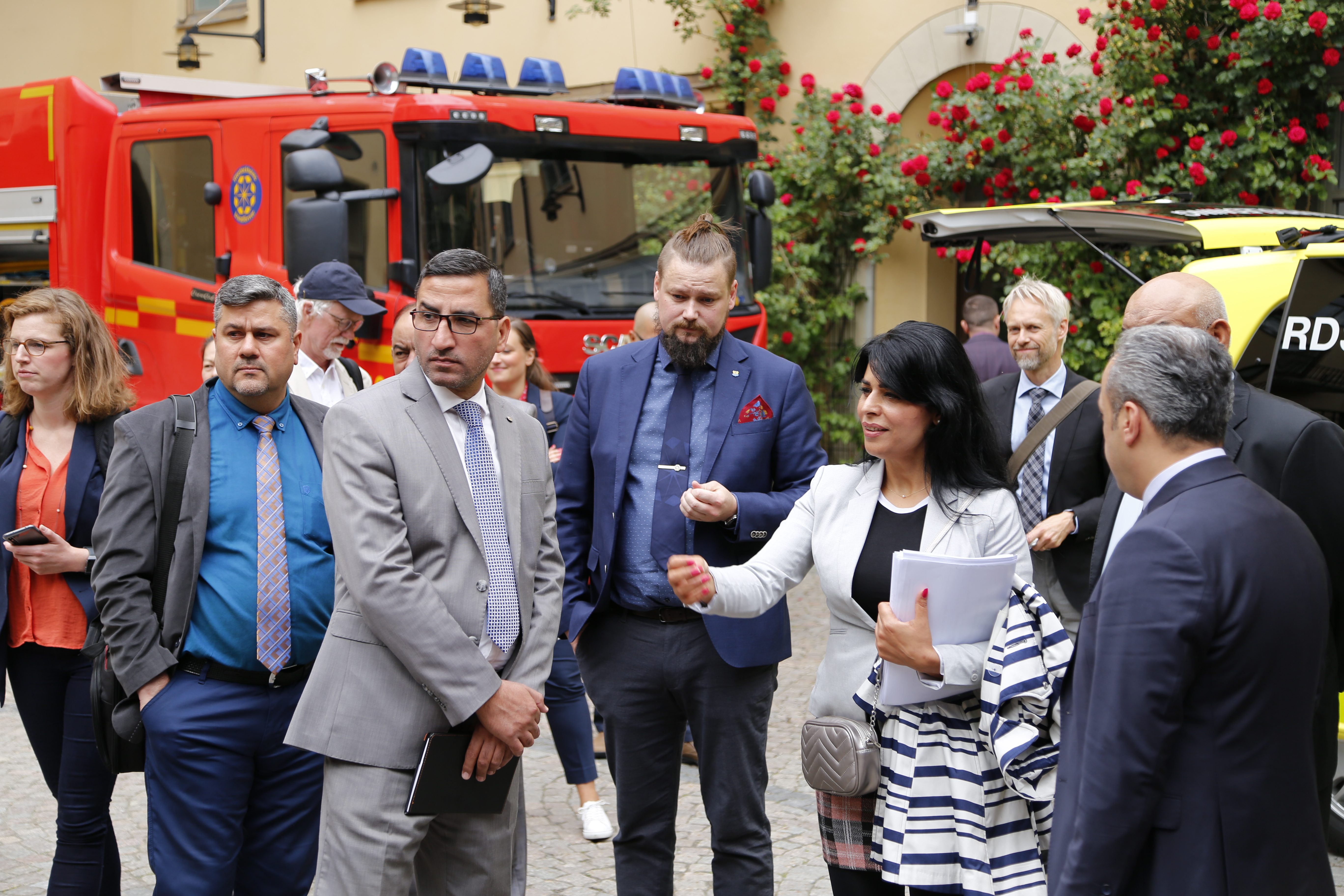 MSB's Iraqi sister agency Joint Coordination and Monitoring Centre (JCMC) and the Iraqi Civil Defense visit the Greater Stockholm Fire Brigade together with MSB, June 2019.