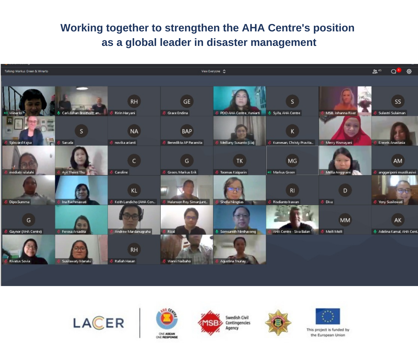 Interactive online workshop with staff from the AHA Centre in Indonesia and the implementing consortium in Sweden and Estonia.